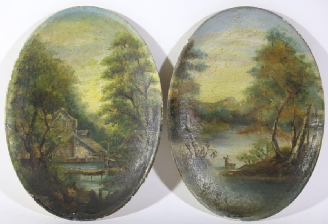 ANTIQUE OVAL LANDSCAPE UNSIGNED PAINTINGS