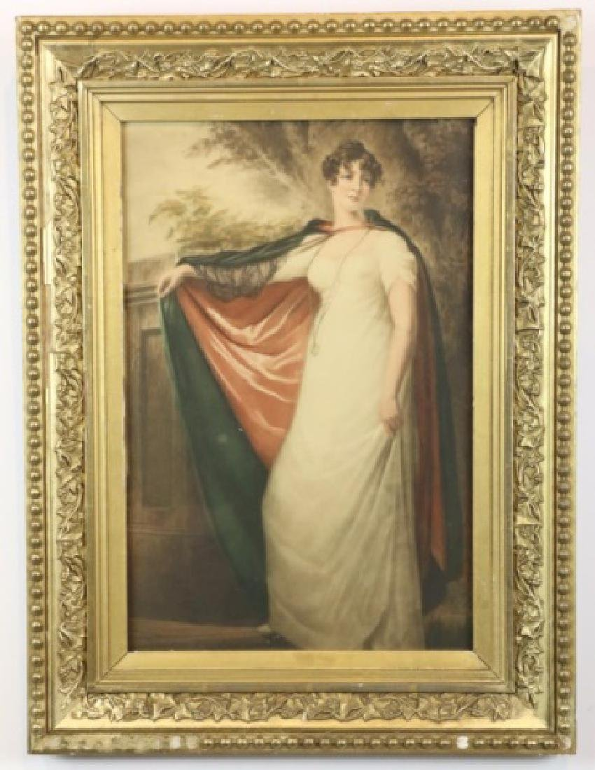 ANTIQUE CLASSICAL FRAMED PORTRAIT UNDER GLASS