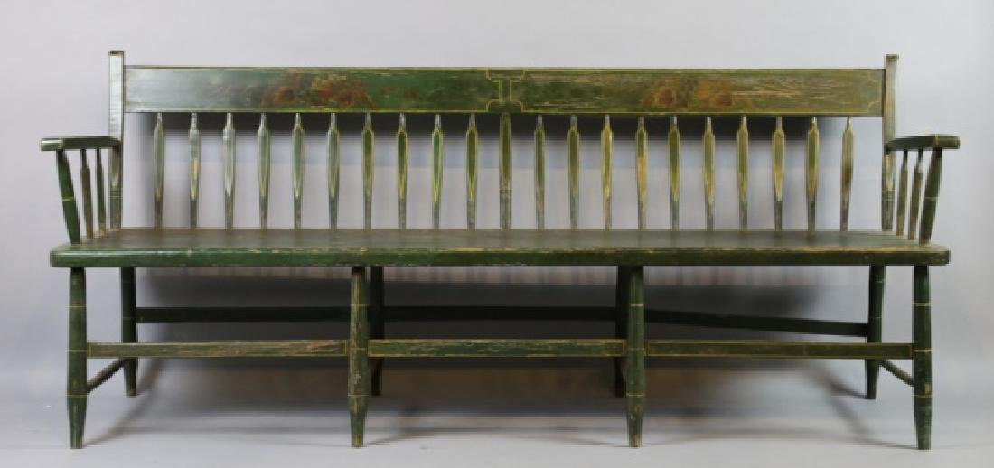 AMERICAN SOUTHERN FINE ANTIQUE  PARSONS LONG BENCH