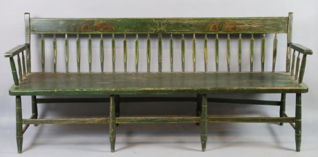 AMERICAN SOUTHERN FINE ANTIQUE  PARSONS LONG BENCH - 2