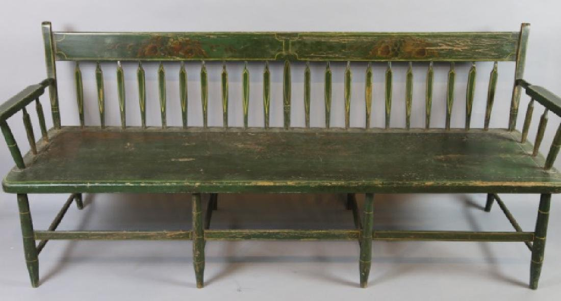 AMERICAN SOUTHERN FINE ANTIQUE  PARSONS LONG BENCH - 3