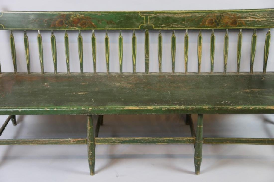 AMERICAN SOUTHERN FINE ANTIQUE  PARSONS LONG BENCH - 4