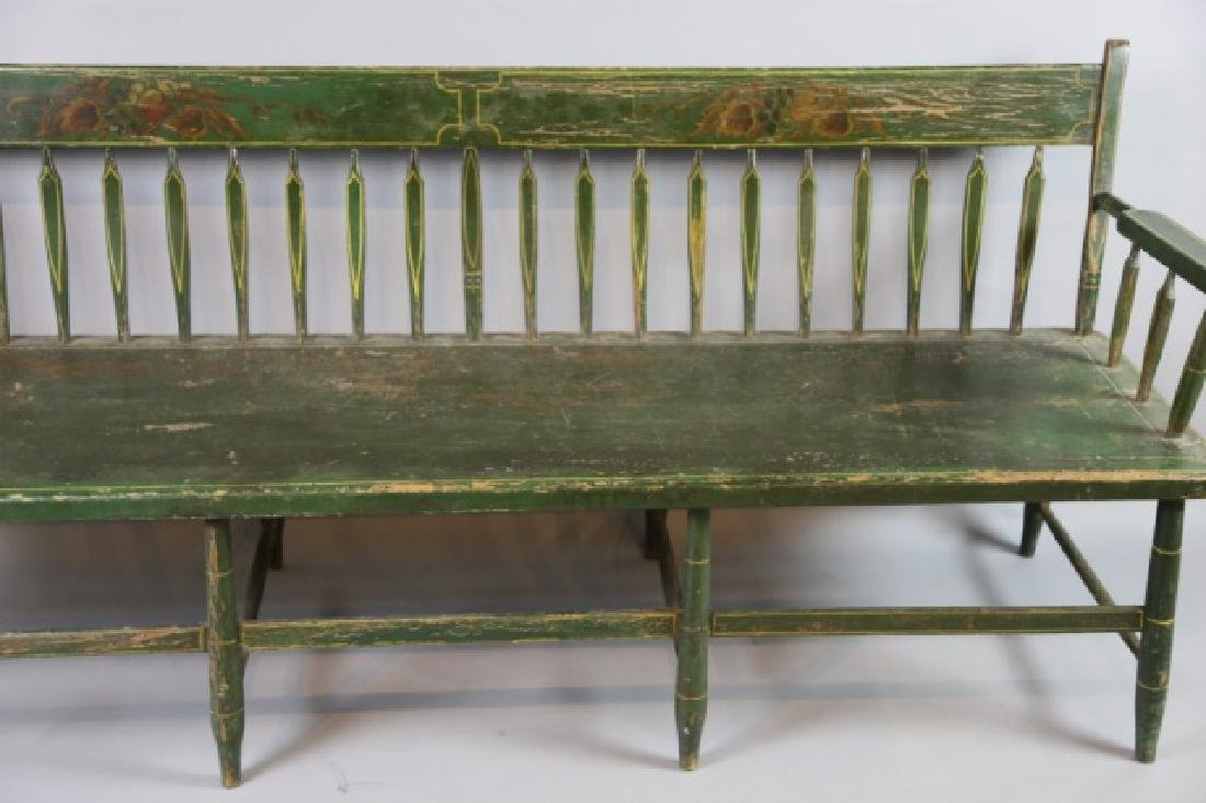 AMERICAN SOUTHERN FINE ANTIQUE  PARSONS LONG BENCH - 6
