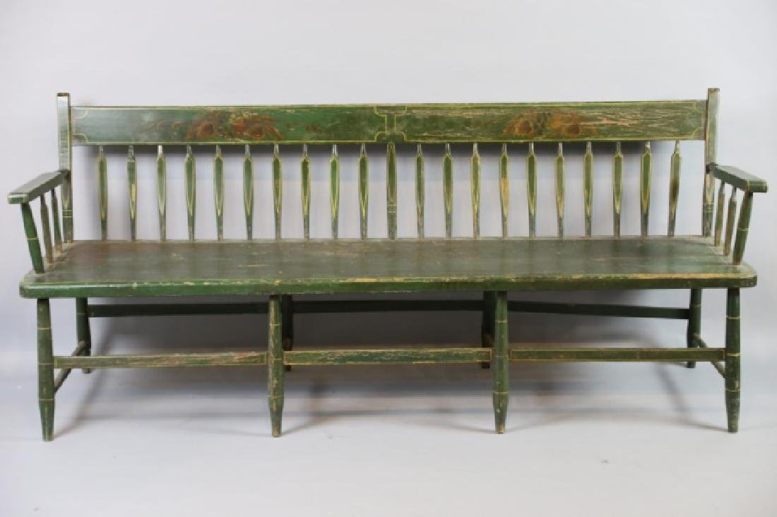AMERICAN SOUTHERN FINE ANTIQUE  PARSONS LONG BENCH - 7