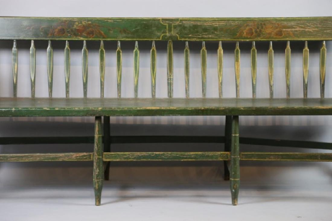 AMERICAN SOUTHERN FINE ANTIQUE  PARSONS LONG BENCH - 8