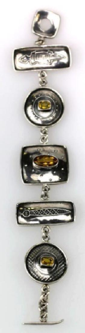 STERLING SILVER AND CITRINE CUSTOM SIGNED BRACELET - 2