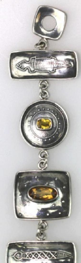 STERLING SILVER AND CITRINE CUSTOM SIGNED BRACELET - 4