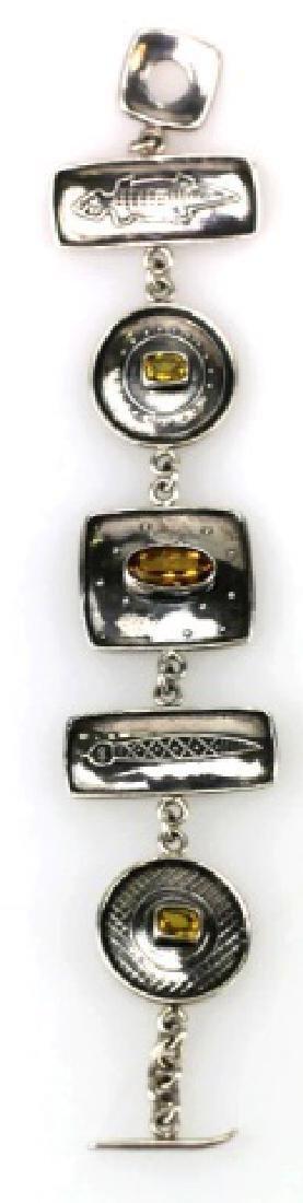 STERLING SILVER AND CITRINE CUSTOM SIGNED BRACELET - 7