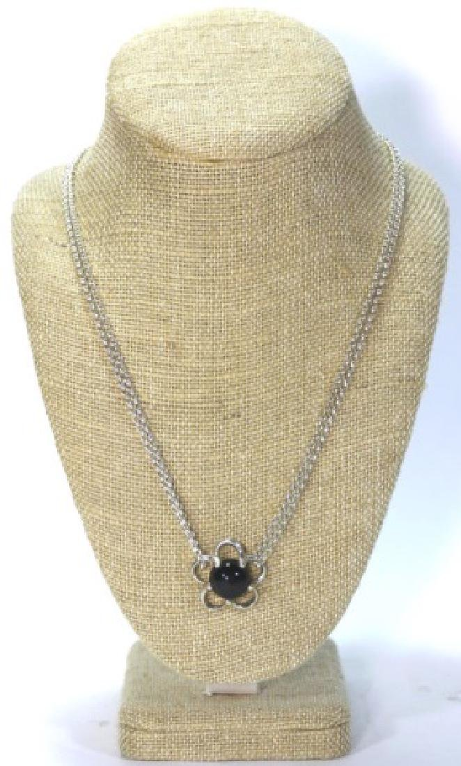 STERLING SILVER / ONYX PENDANT NECKLACE