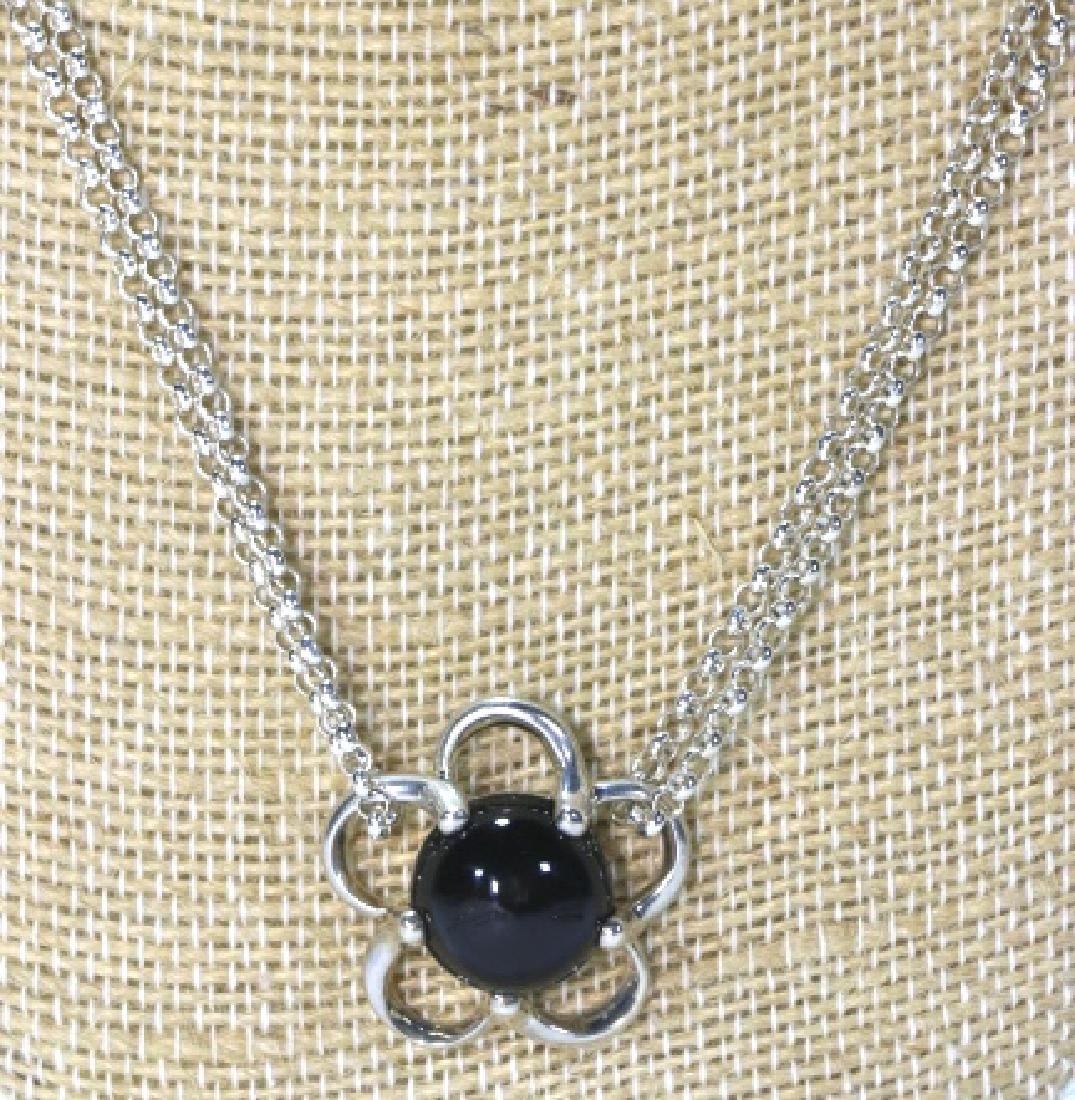 STERLING SILVER / ONYX PENDANT NECKLACE - 2