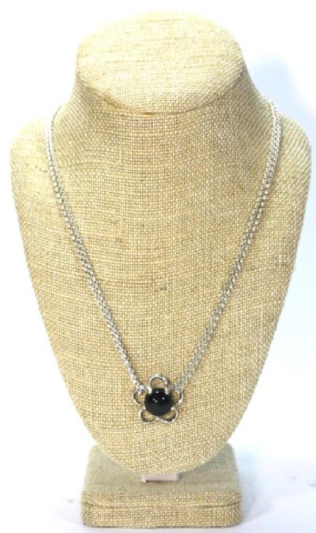 STERLING SILVER / ONYX PENDANT NECKLACE - 4