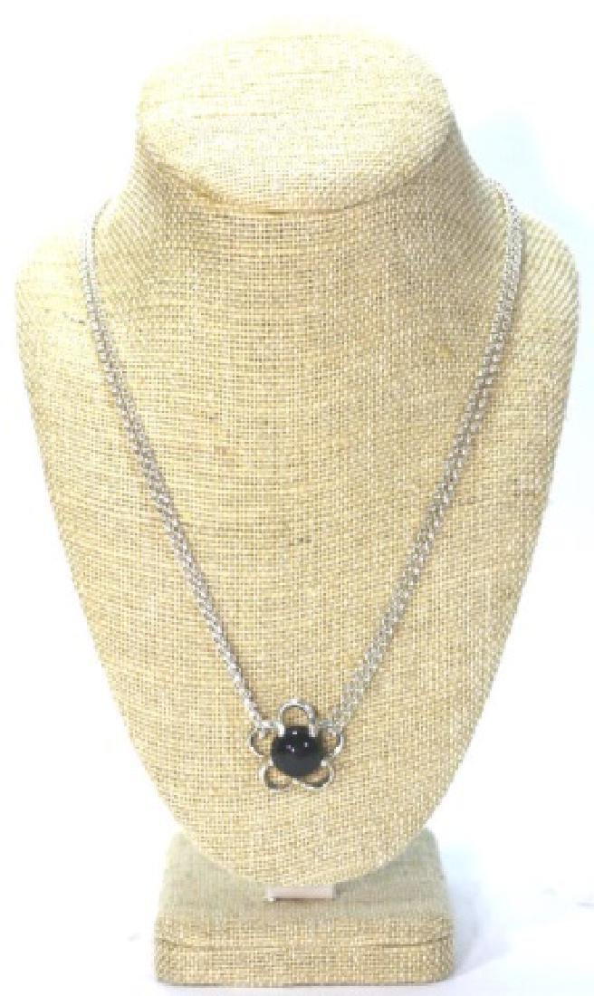 STERLING SILVER / ONYX PENDANT NECKLACE - 5