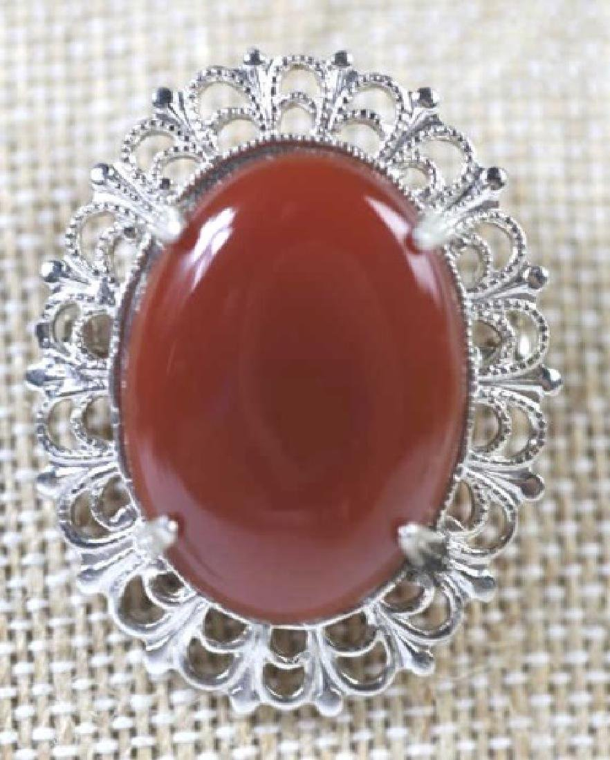 STERLING SILVER VINTAGE CABOCHON  MOUNTED PIN