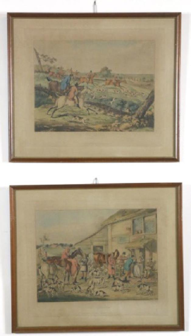 ENGLISH FOX HUNT ENGRAVING HANDCOLORED PAIR