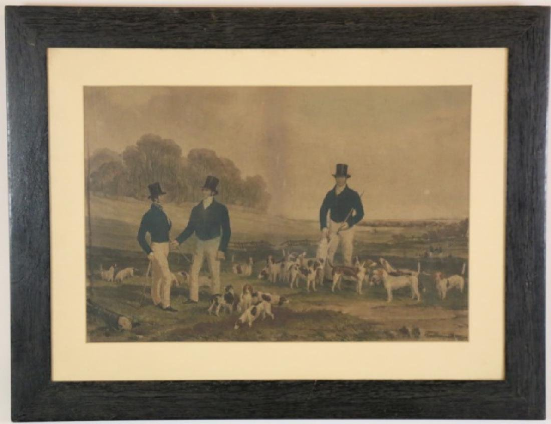 FOX HUNT HANDCOLORED ENGRAVING