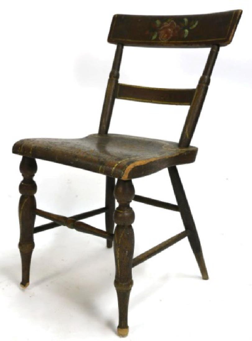AMERICAN ANTIQUE STENCIL DECORATED SIDE CHAIR