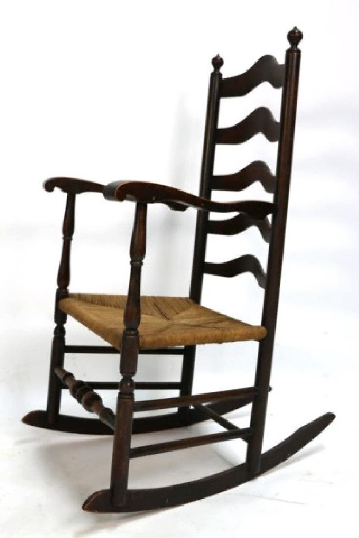AMERCIAN ANTIQUE HAND PEGGED RUSH SEAT ROCKER