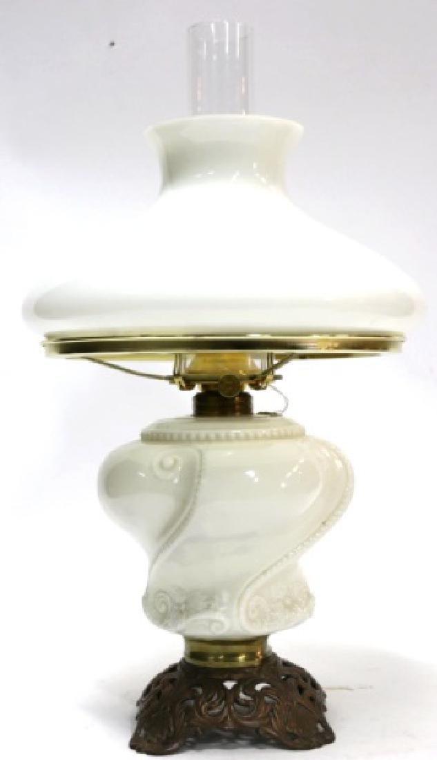 ANTIQUE B&P MILK GLASS OIL LAMP