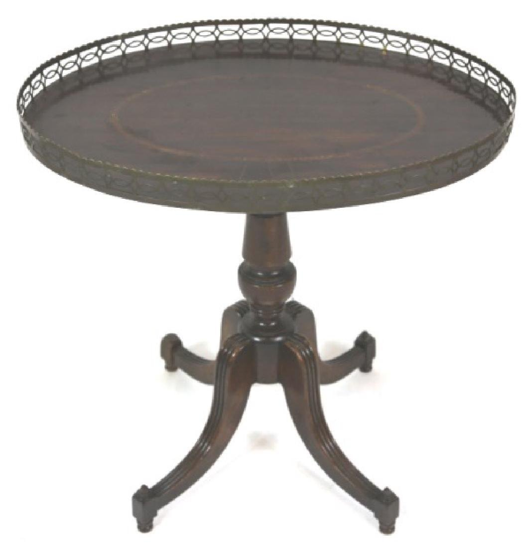 ENGLISH ANTIQUE MAHOGANY INLAID OVAL GALLERY TABLE