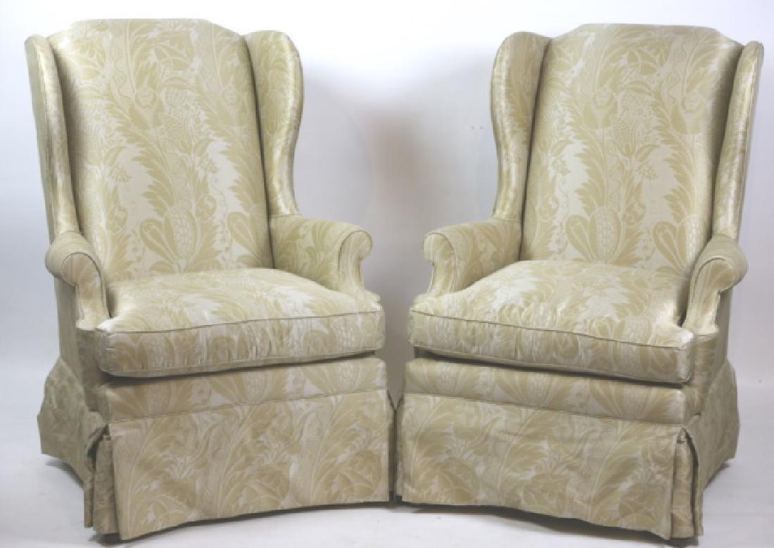 CUSTOM UPHOLSTERED WINGBACK CHAIR PAIR