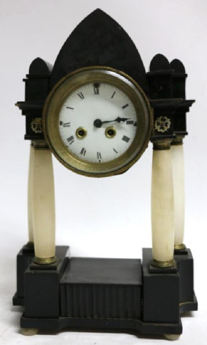 ANTIQUE ALABASTER COLUMN CLOCK