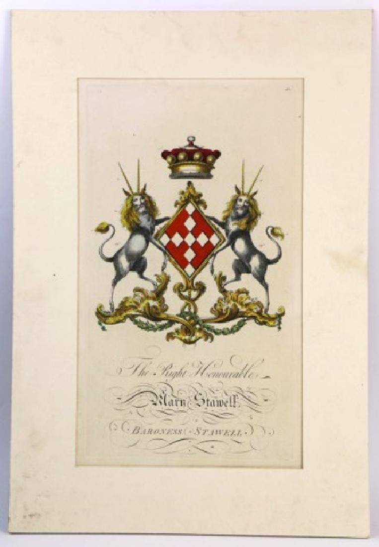 HAND COLORED ENGRAVING COAT OF ARMS