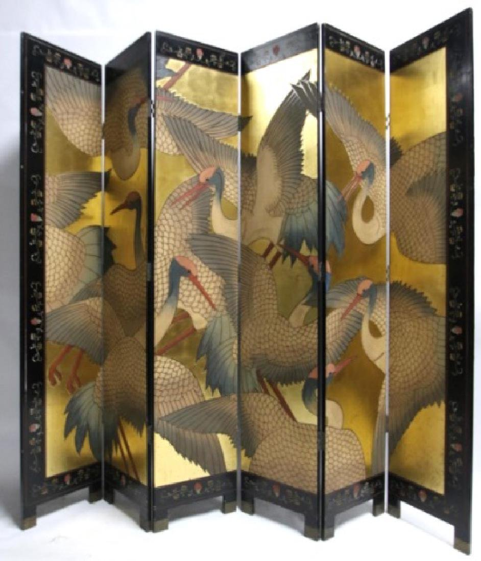 ASIAN VINTAGE LACQUER & GILT 8'  SIX PANEL SCREEN