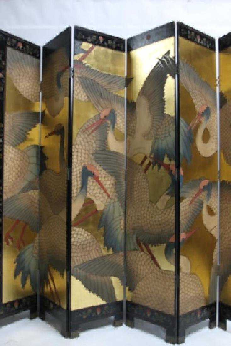 ASIAN VINTAGE LACQUER & GILT 8'  SIX PANEL SCREEN - 3