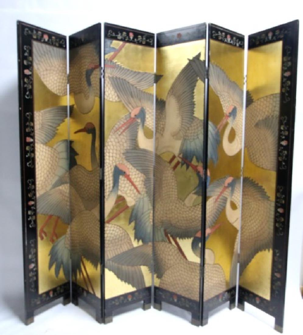 ASIAN VINTAGE LACQUER & GILT 8'  SIX PANEL SCREEN - 4