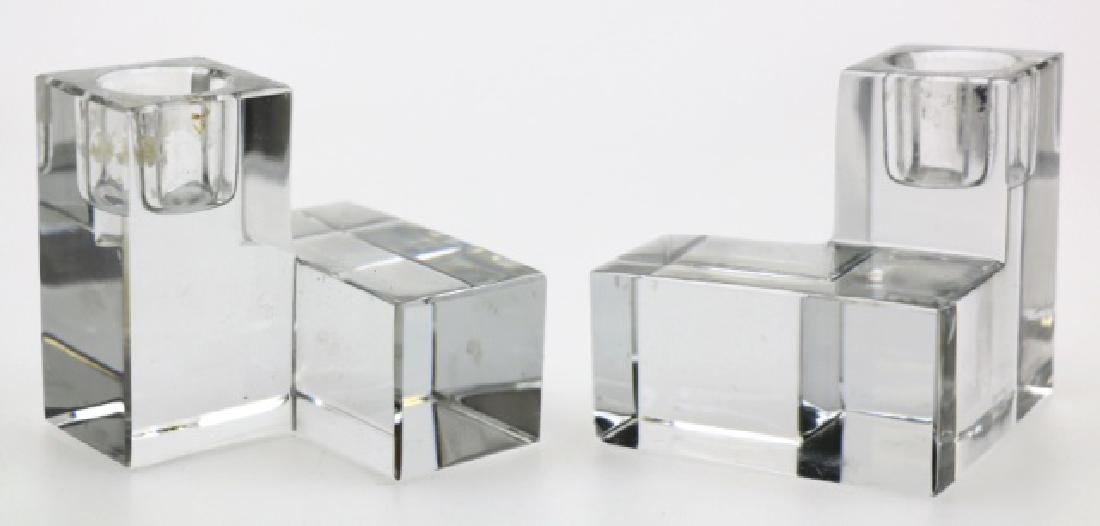 BACARAT MODERN GLASS BLOCK CANDLE STICKS