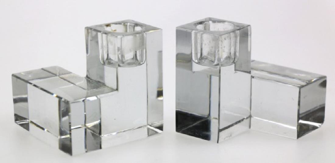 BACARAT MODERN GLASS BLOCK CANDLE STICKS - 2