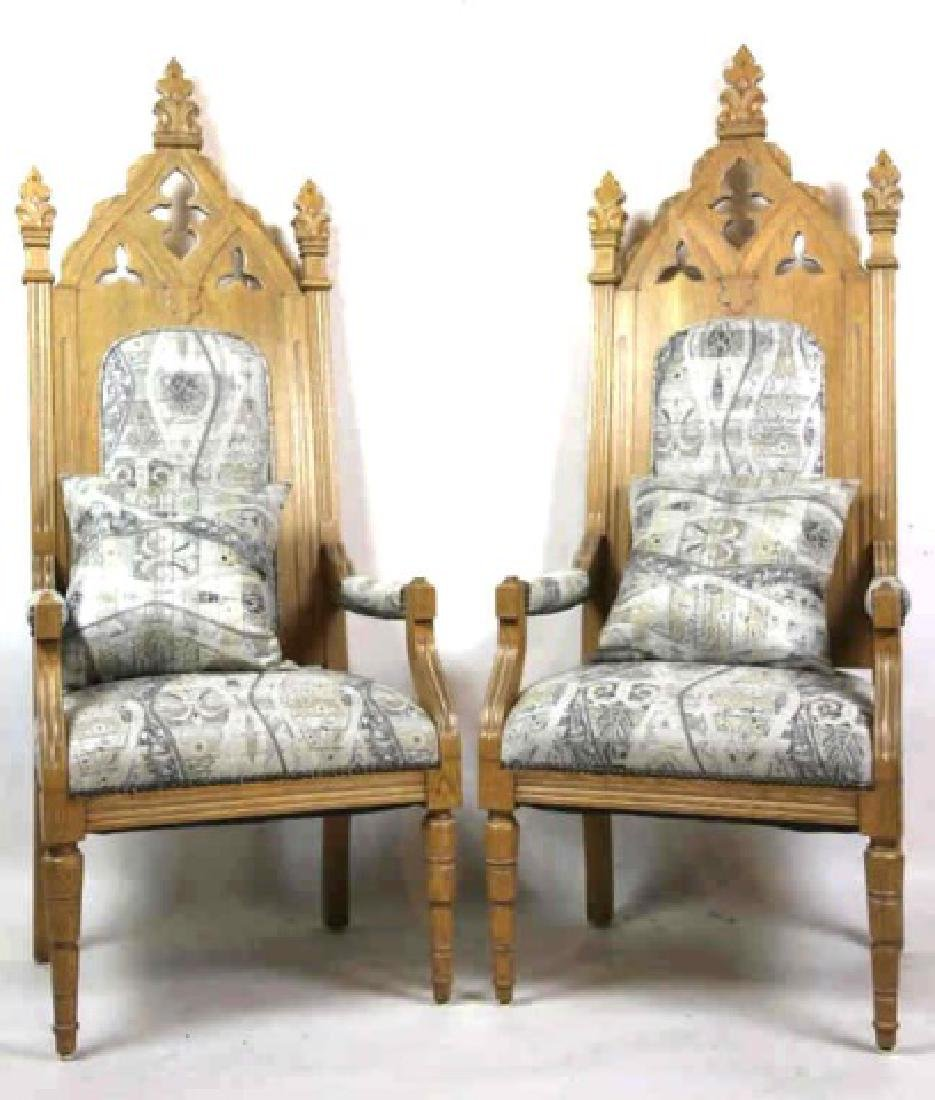 CUSTOM UPHOLSTERED GOTHIC VINTAGE CHAIRS