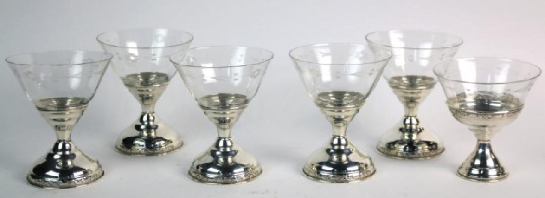 STERLING SILVER CUT CRYSTAL COMPOTE GROUPING - 5