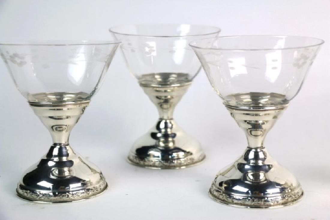 STERLING SILVER CUT CRYSTAL COMPOTE GROUPING - 6