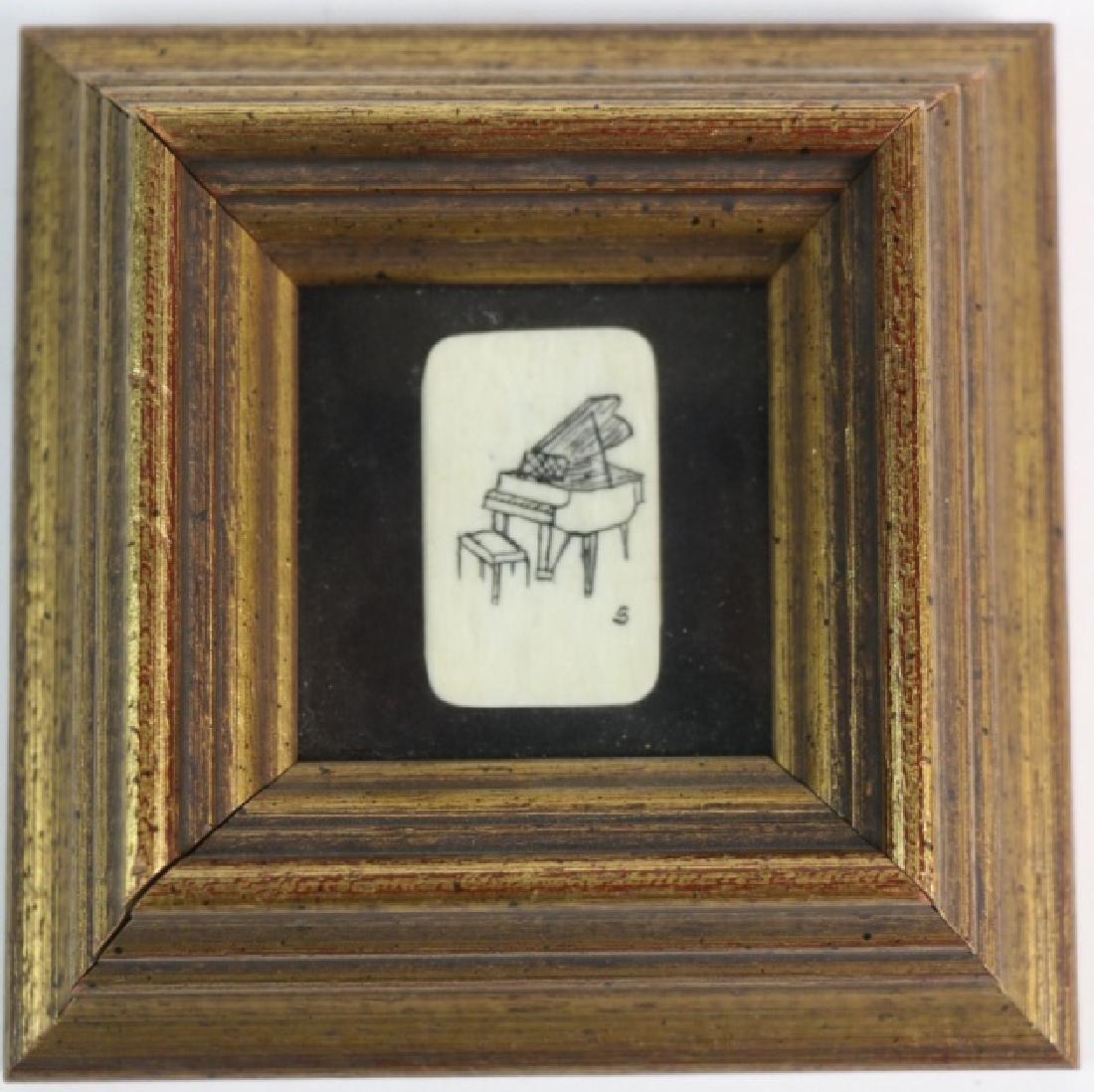 HAROLD D. SIMMONS  SCRIMSHAW FRAMED PIANO KEY