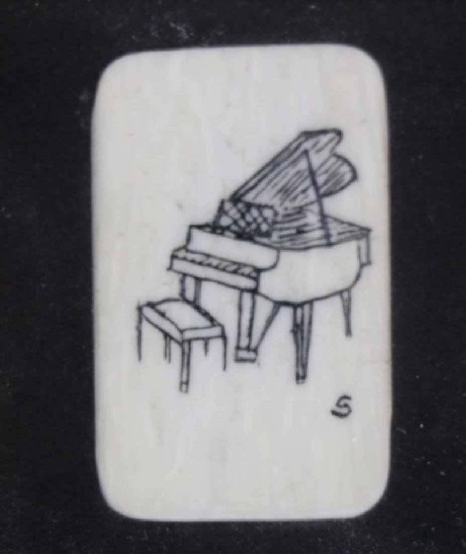 HAROLD D. SIMMONS  SCRIMSHAW FRAMED PIANO KEY - 2