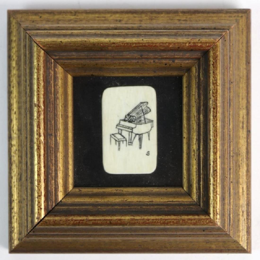 HAROLD D. SIMMONS  SCRIMSHAW FRAMED PIANO KEY - 3