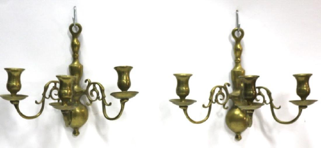 ANTIQUE  BRASS THREE ARM CANDLE WALL SCONCES