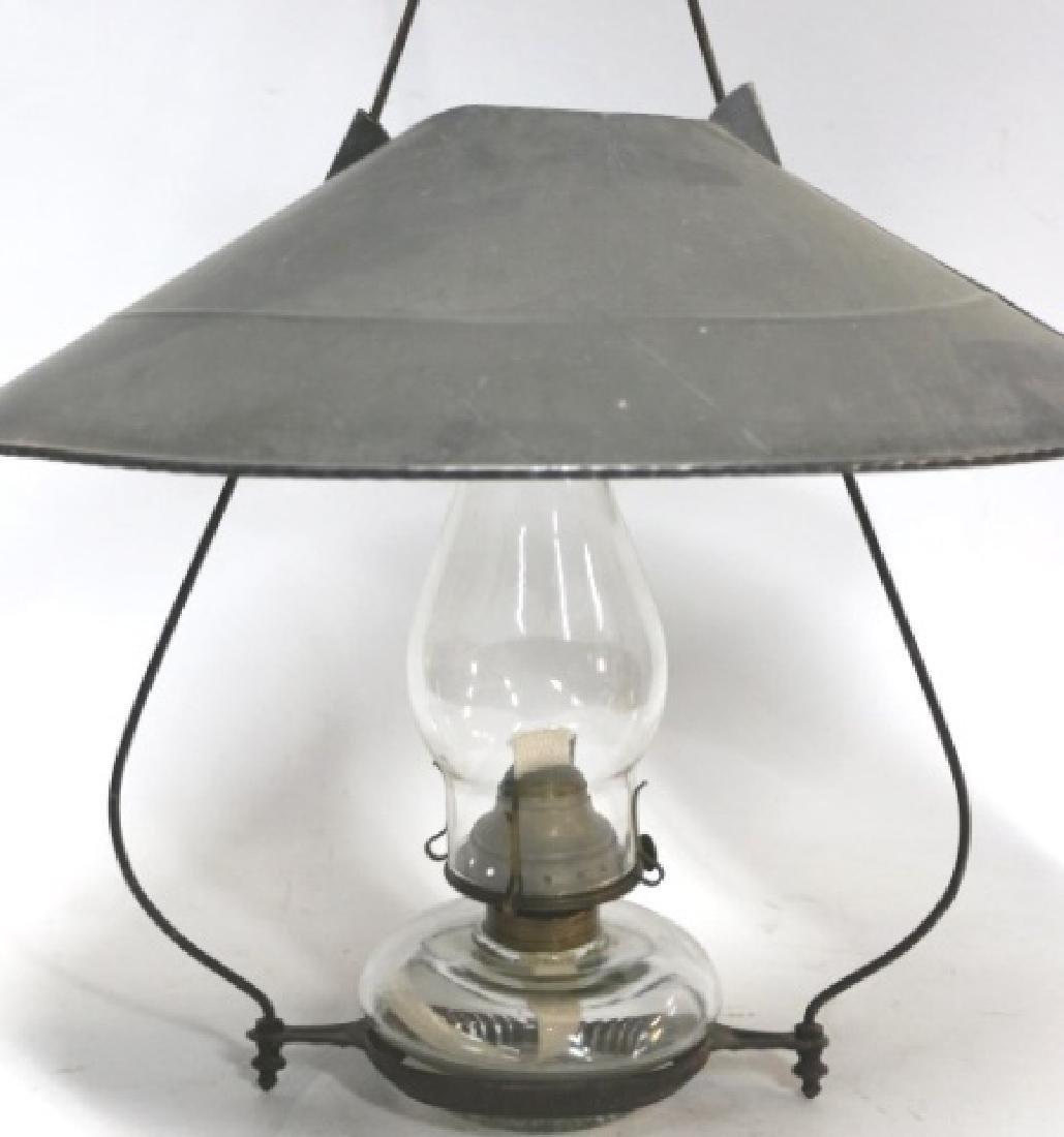 ANTIQUE HANGING OIL LAMP - 3