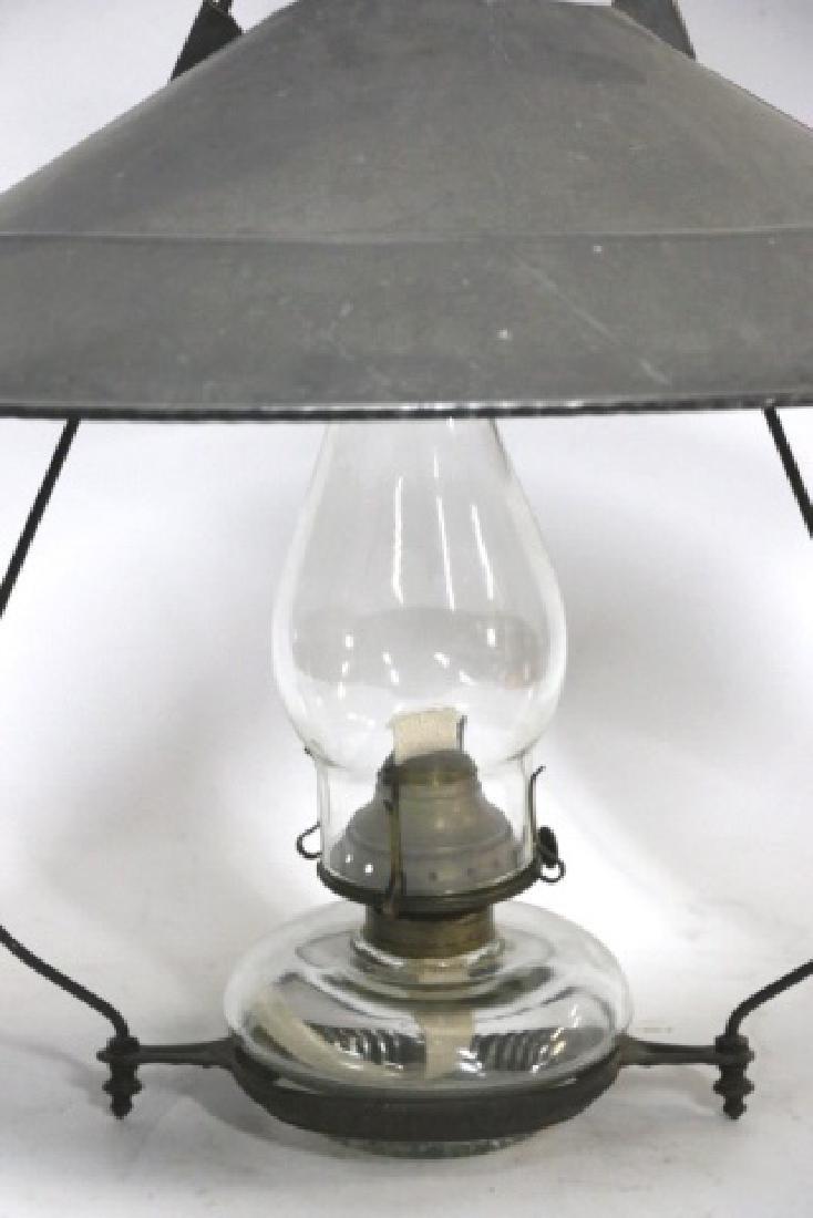 ANTIQUE HANGING OIL LAMP - 5