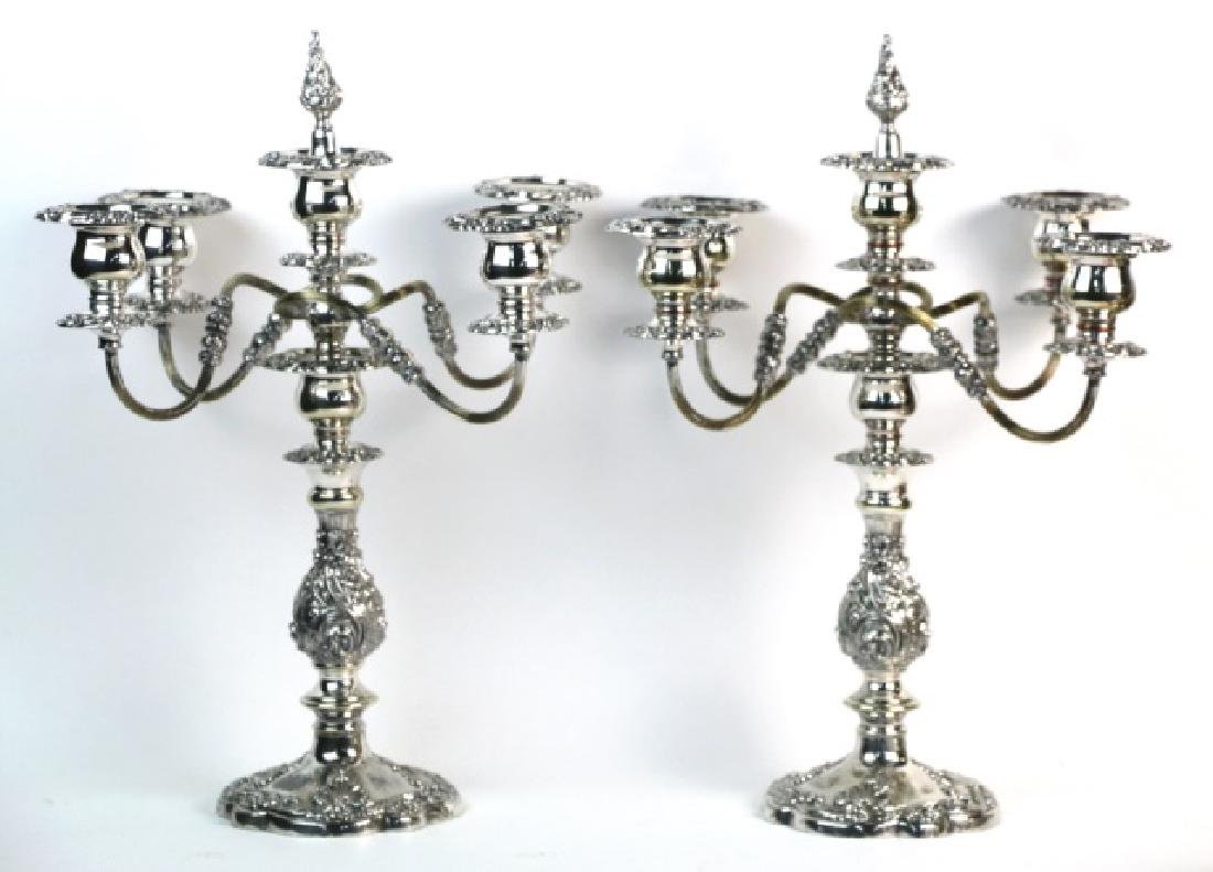 FIVE-ARM SILVER CANDELABRA WITH FINIALS
