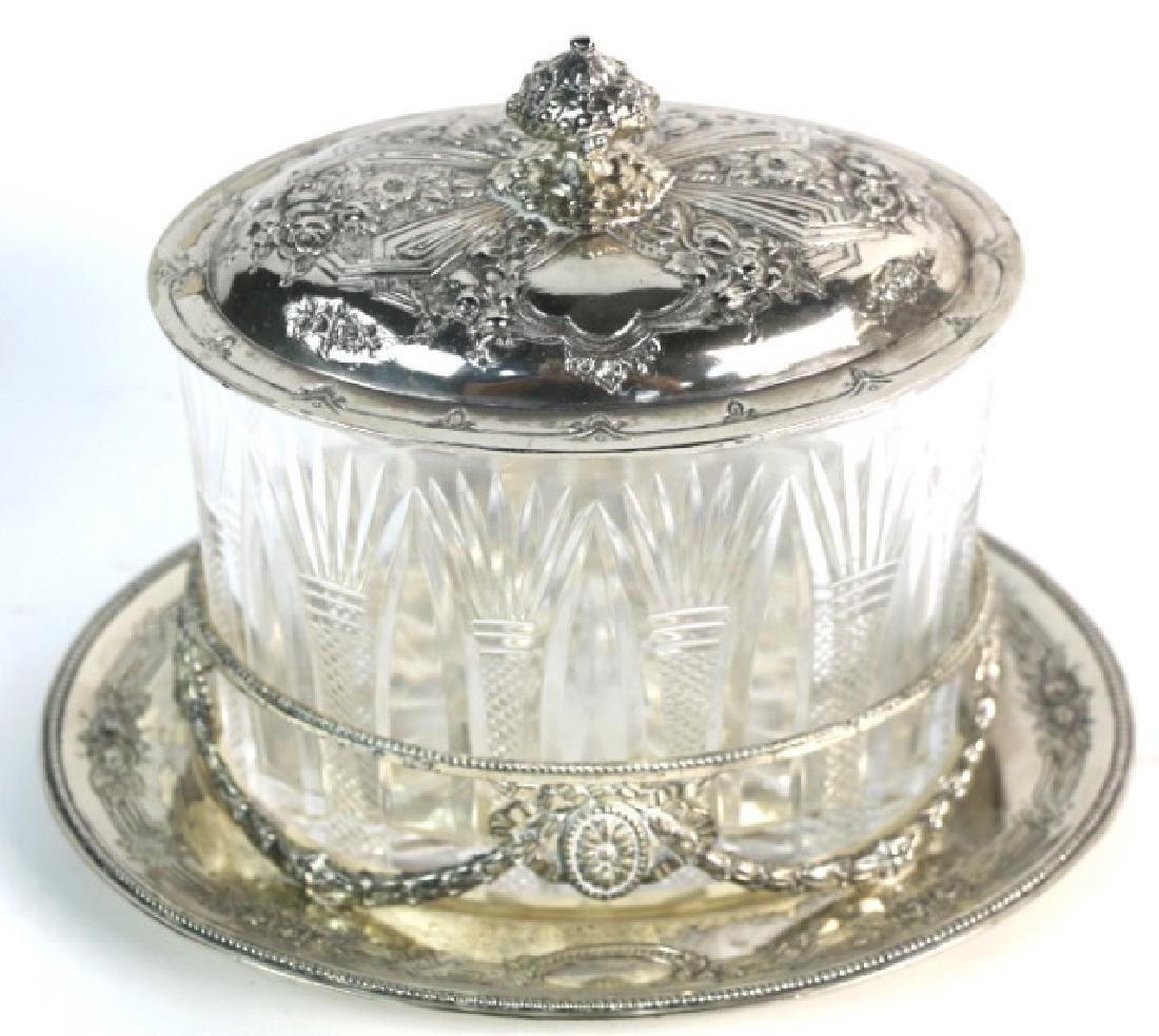 ENGLISH CRYSTAL AND SILVER COVERED DISH