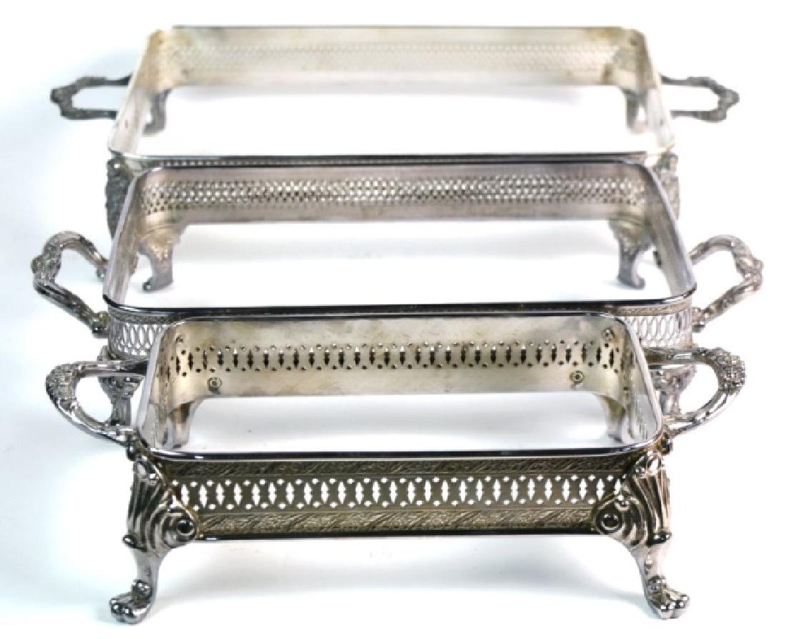 SHEFFIELD SILVER FOOTED FILIGREE SERVERS (3)