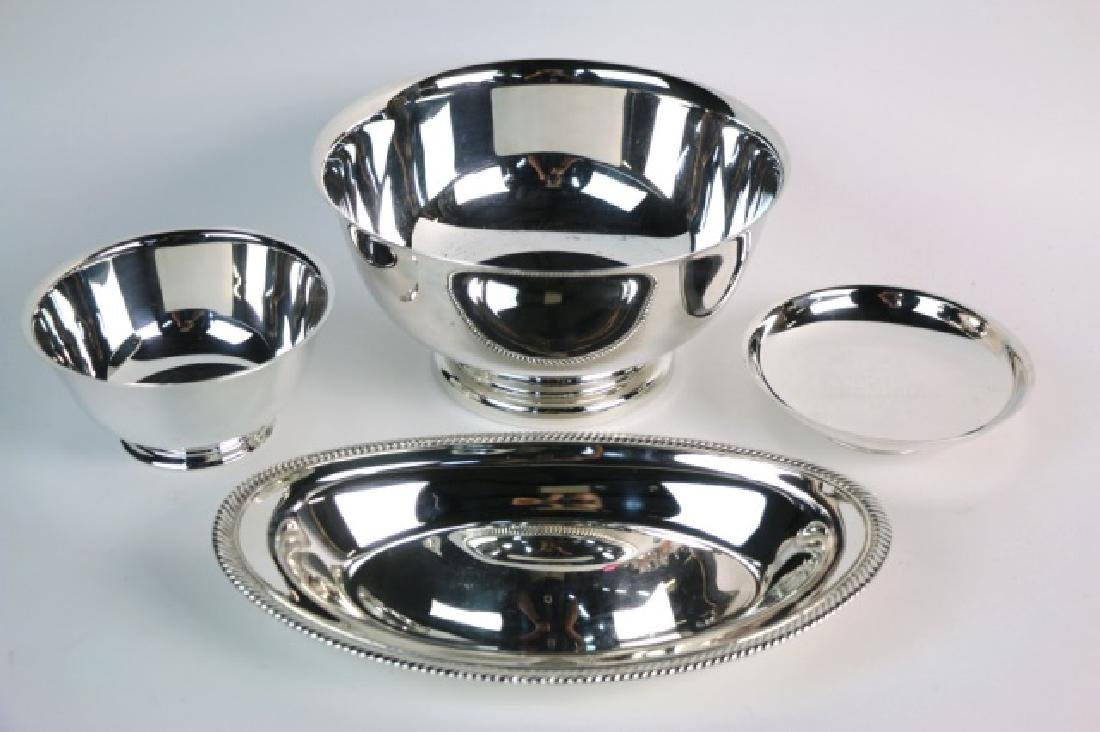 SILVER SERVING PIECES GROUPING