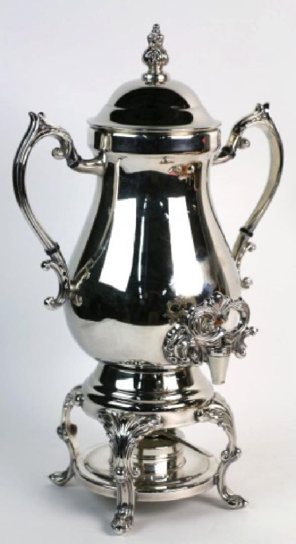 ENLGISH TWIN HANDLED SILVER COFFEE URN WITH WARMER