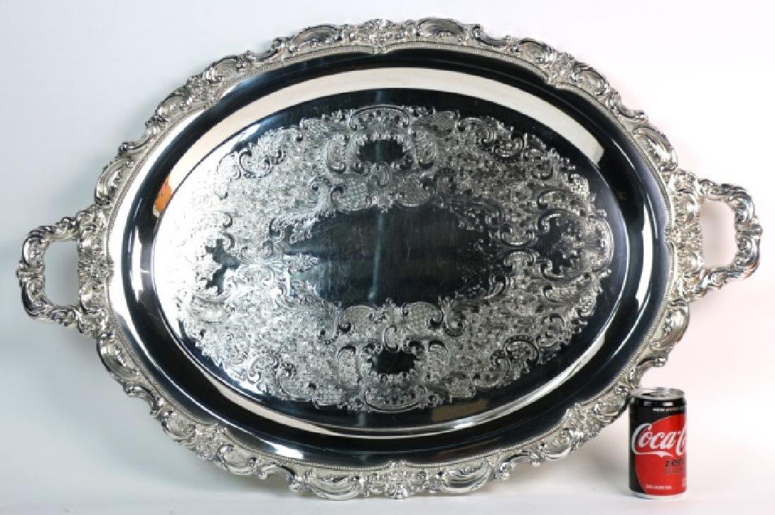 ENGLISH SHEFFIELD LARGE SILVER SERVING TRAY