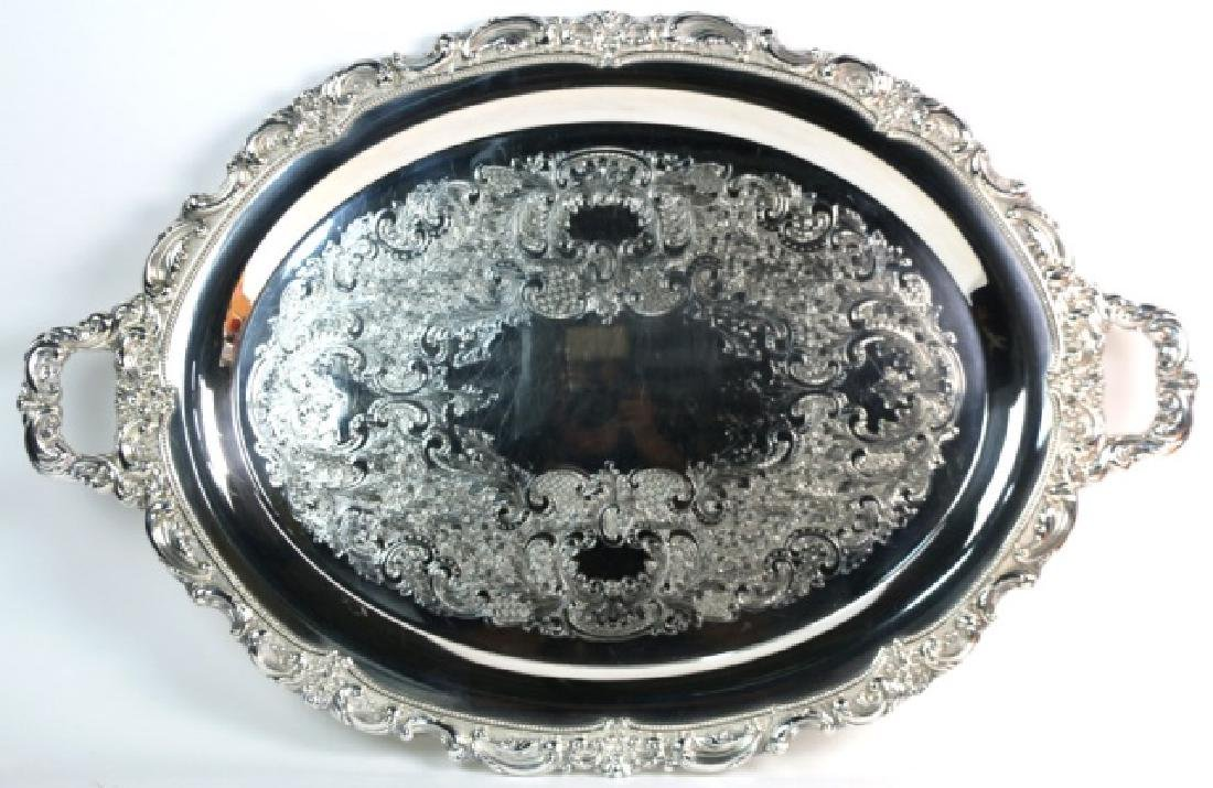 ENGLISH SHEFFIELD LARGE SILVER SERVING TRAY - 2