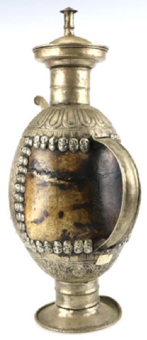 TIBETAN ANTIQUE SKULL RITUAL EWER - 12