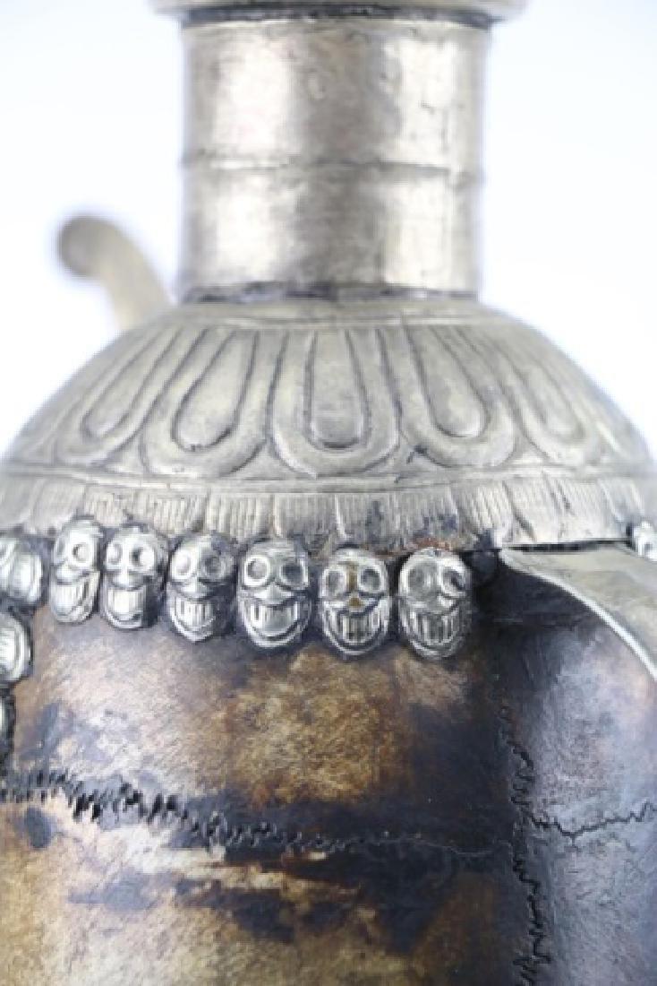 TIBETAN ANTIQUE SKULL RITUAL EWER - 13