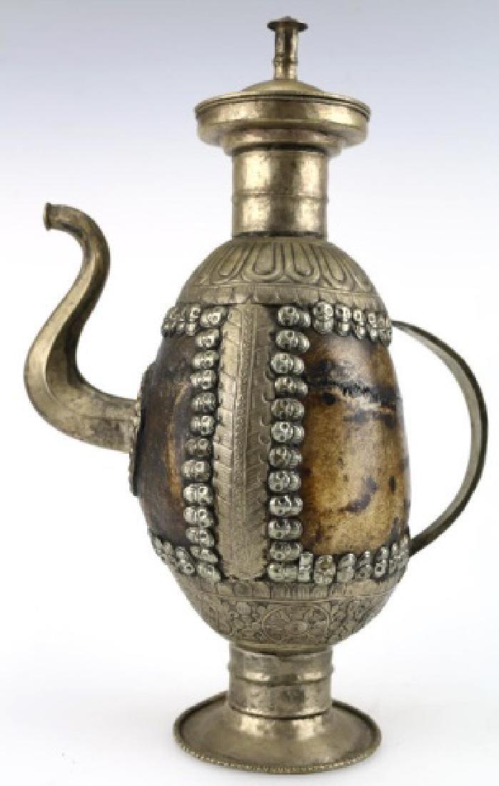 TIBETAN ANTIQUE SKULL RITUAL EWER - 3
